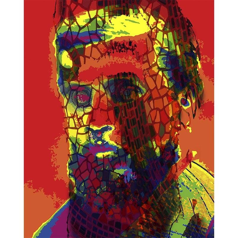 Mixed media print - portret Gaudi
