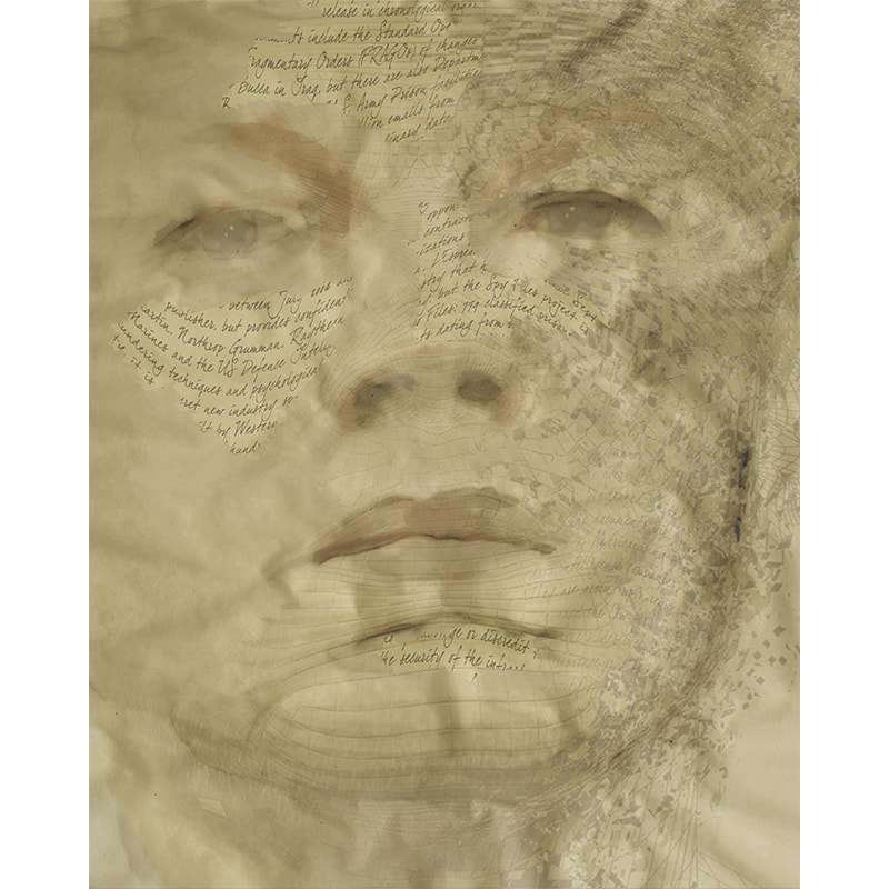 Mixed media print - portret Julian Assange