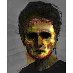 Mixed media print - portret Madame Curie