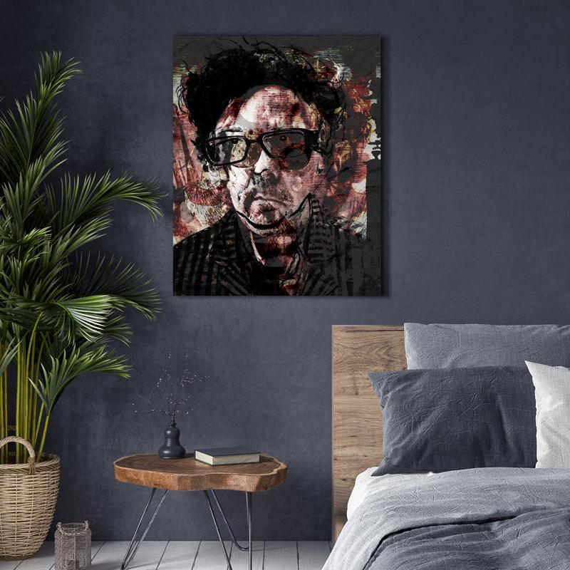 Mixed media print - portret Tim Burton