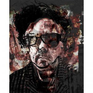 Mixed media print - portret Tim Burton
