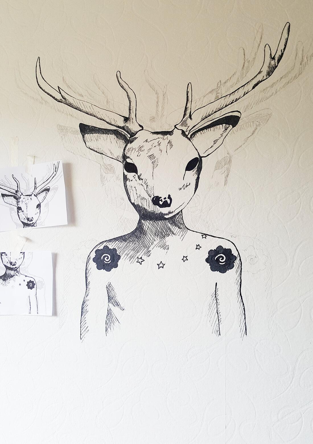 Mandeer muurschildering work in progress