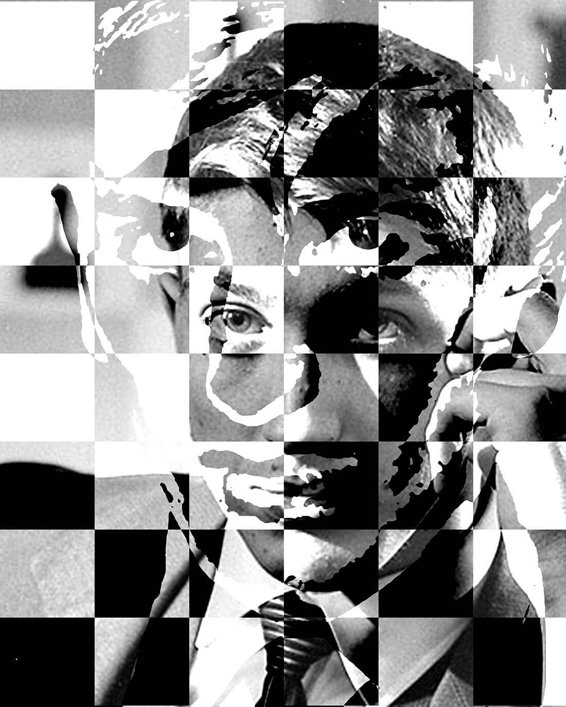Mixed media portret Bobby Fisscher