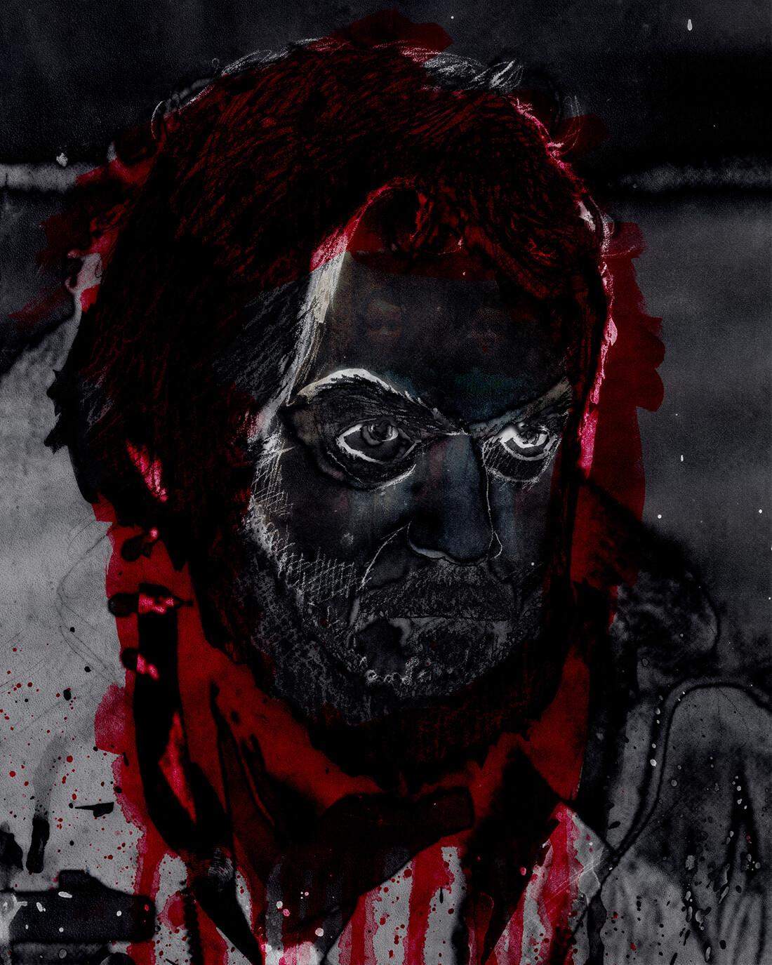 Mixed media portret Stanley Kubrick