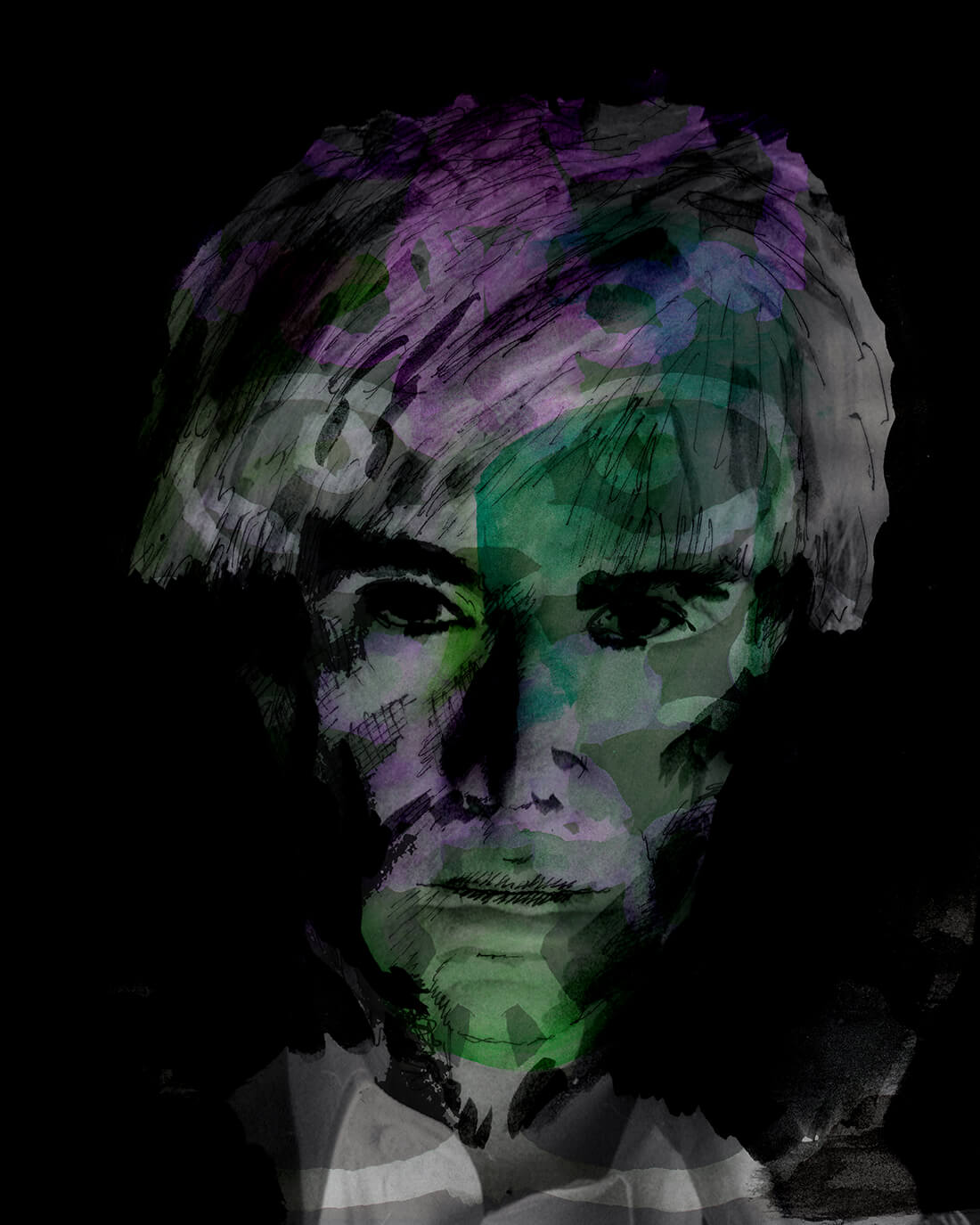 Mixed media portret Andy Warhol