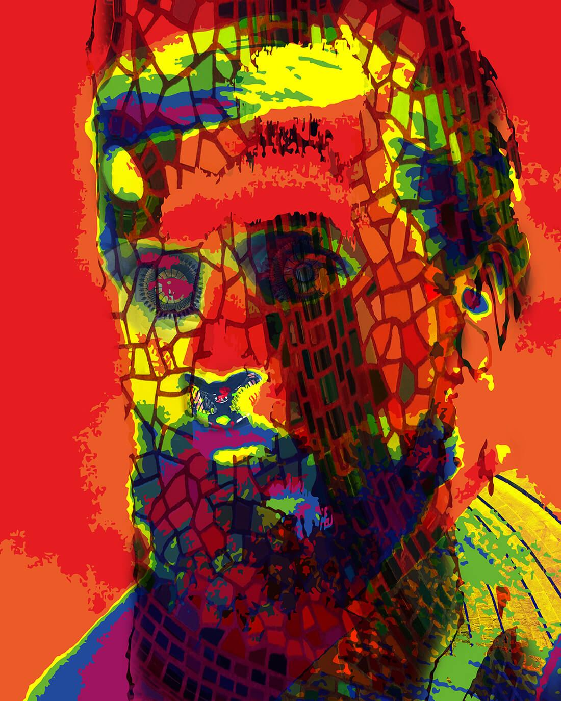 Mixed media portret Gaudí
