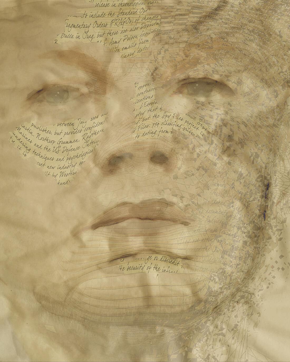 Mixed media portret Julian Assange