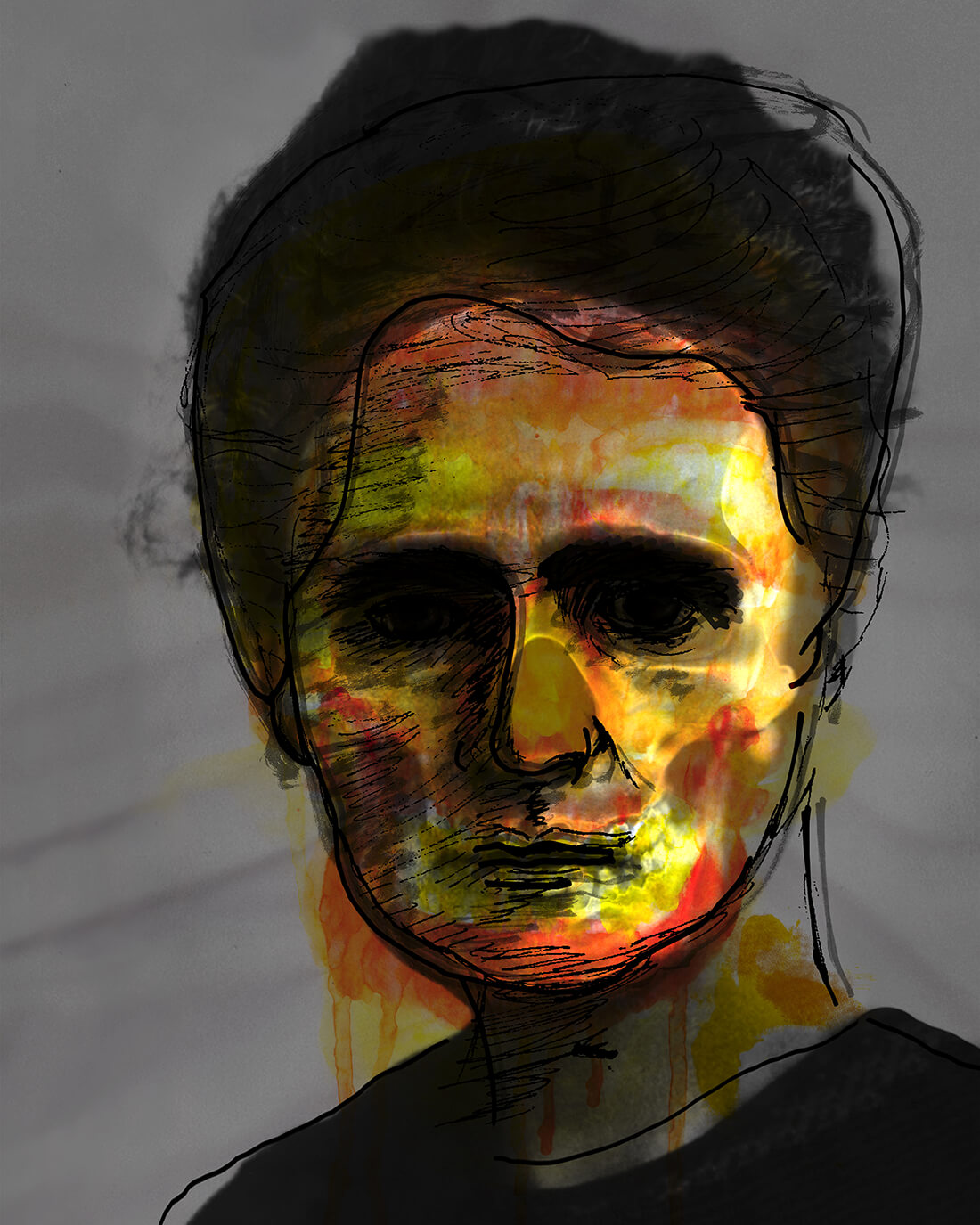 Mixed media portret Mme Curie