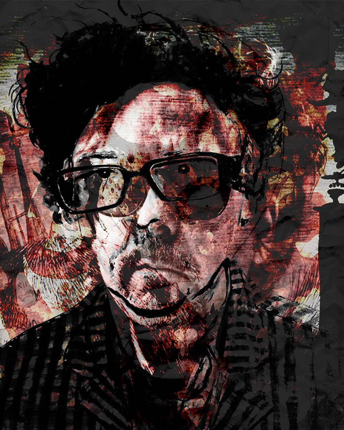 Mixed media portret Tim Burton