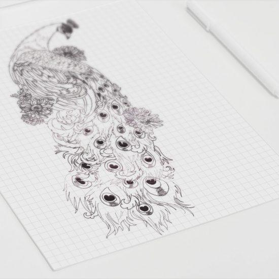 Tattoo ontwerp pauw schets af