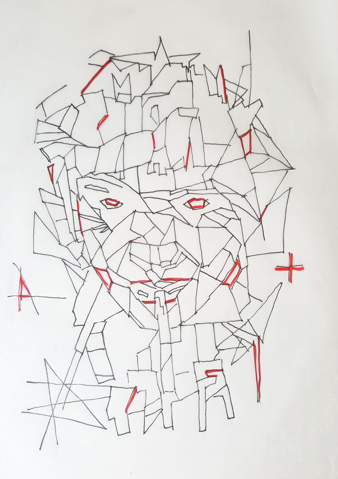 Portrait face linework