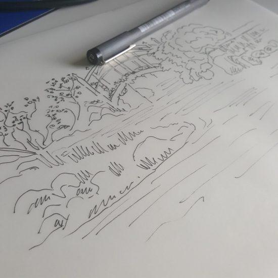 Extra waterval met brug voor tekening