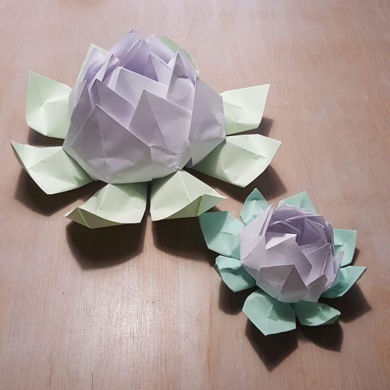 Lelies, uiteraard in Origami papier gemaakt