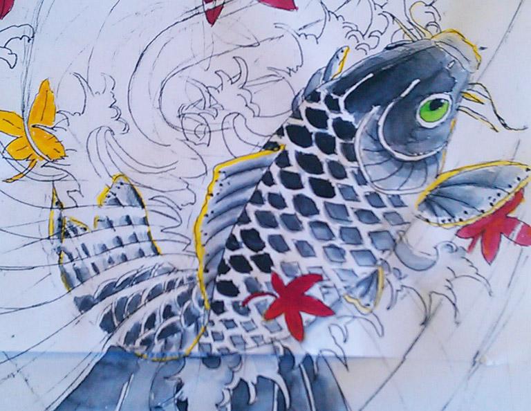 Koi karper tattoo ontwerp illustratie
