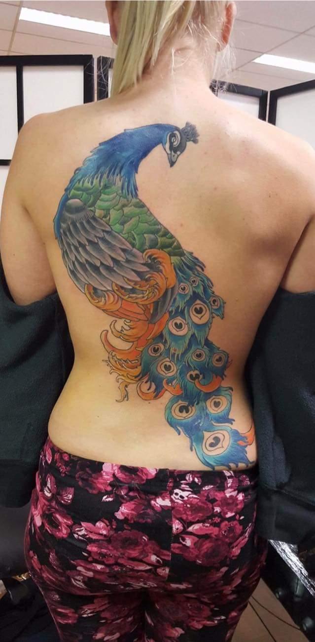 Tattoo ontwerp backpiece pauw