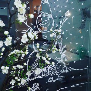Sneeuwman sneeuwpop krijtstift raamtekening sjabloon