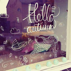 Hallo herfst Hello Autumn krijtstift raamtekening sjabloon