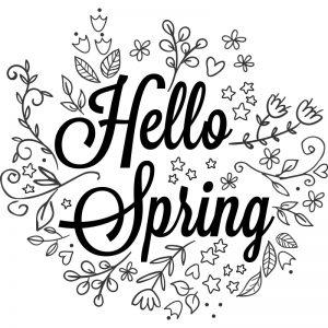 Lente quote hello Spring krijtstift raamtekening