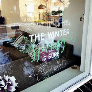 Lente quote winter krijtstift raamtekening