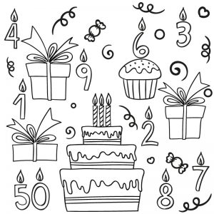 Verjaardag pakket raamtekening krijtstift taart kadootjes