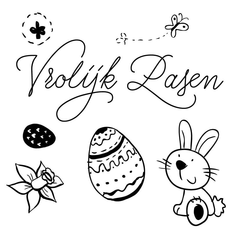 Vrolijk pasen tekening met paashaas, kuikens en eieren