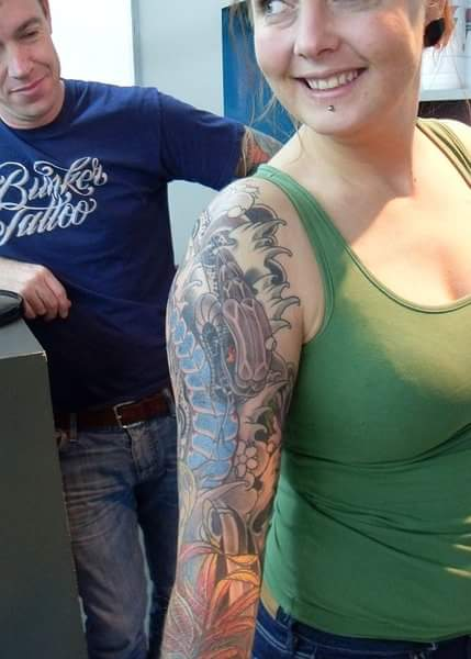 Mijn eigen sleeve tattoo ontwerp gezet door Bunker Tattoo