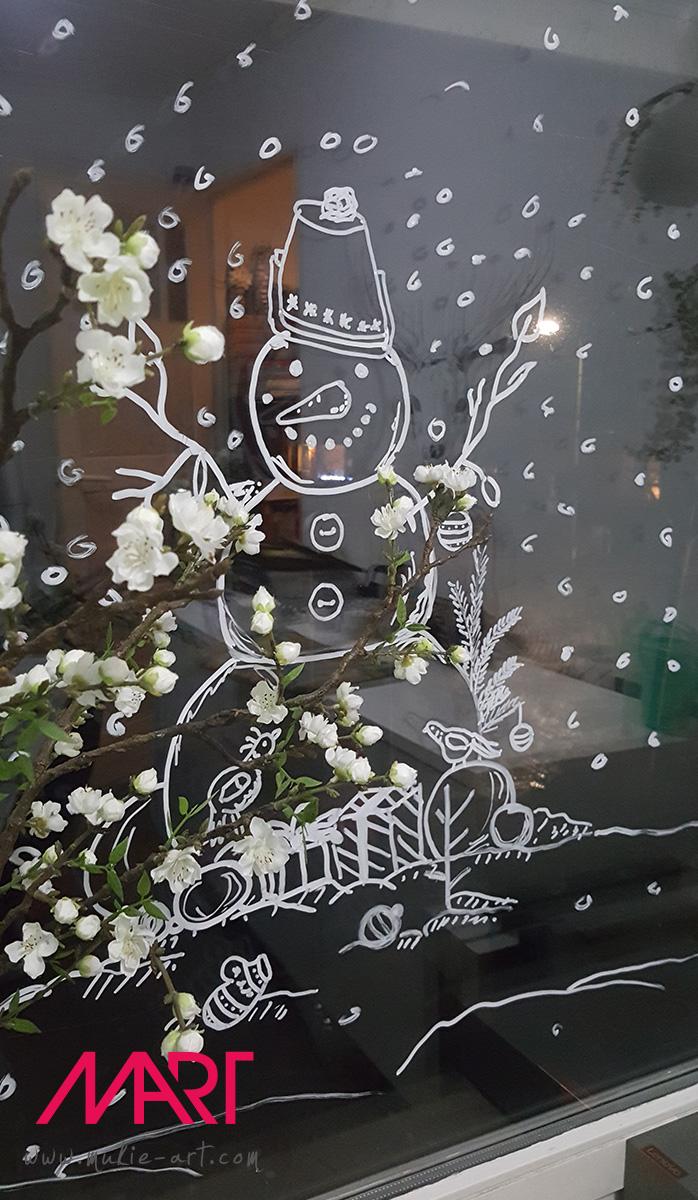 Krijtstift raamtekening Sneeuwpop
