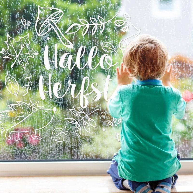 Hallo herfst tekening op je raam