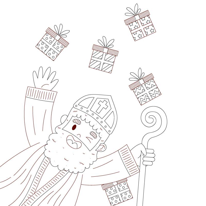Sinterklaas met staf