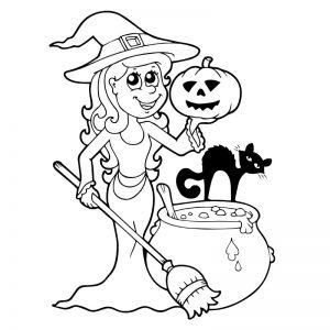 Halloween heks met haar kat
