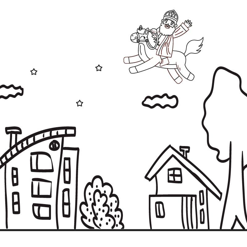 Raamtekening huisjes met Sinterklaas