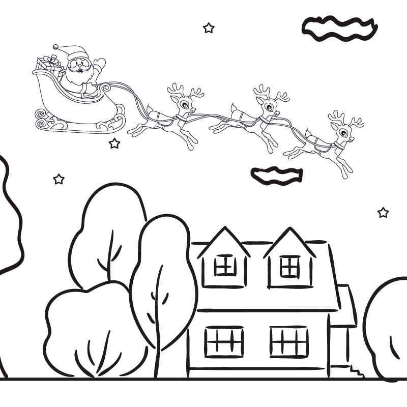 Raamtekening huisjes met Kerstman