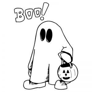Halloween spookje raamtekening