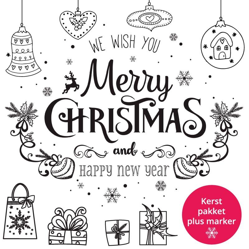 Raamtekening Kerstpakket met krijtstift