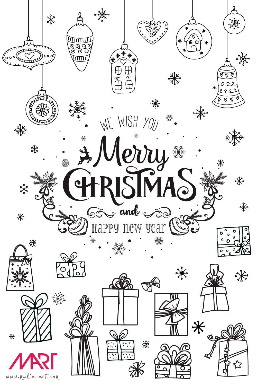 Raamtekening Kerstpakket met gratis krijtstift