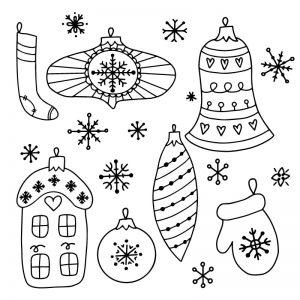 Kerstballen en sneeuwvlokken krijtstift raamtekening