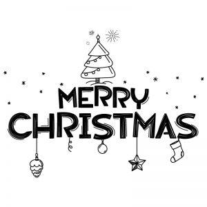 Krijtstift raamtekening Merry Christmas kerst quote