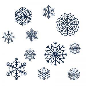 Sneeuwvlokken tekenen op het raam